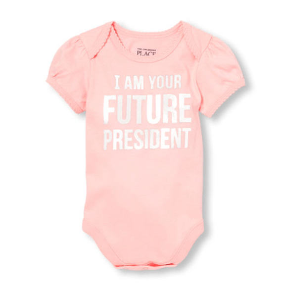 """בגד גוף שרוול קצר - """"I am your future president"""" מבית The Children's Place   במגוון מידות לבחירה, , large image number null"""