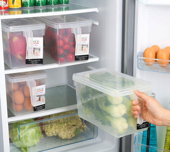4 קופסאות אחסון איכותיות בעלות ידית אחיזה ומכסה, מושלם לסדר במקרר או במזווה, , large image number null