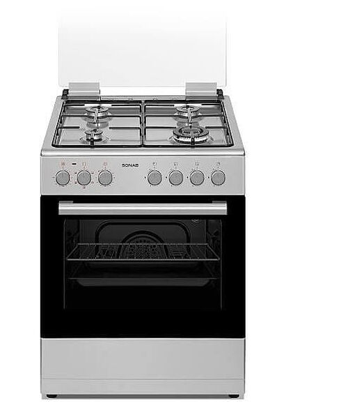 """תנור משולב כיריים גז 60 ס""""מ לבן בנפח 60 ליטר 4 מבערים - 5 תוכניות בישול ואפיה  נירוסטה מבית SONAB דגם SN-6006 , , large image number null"""