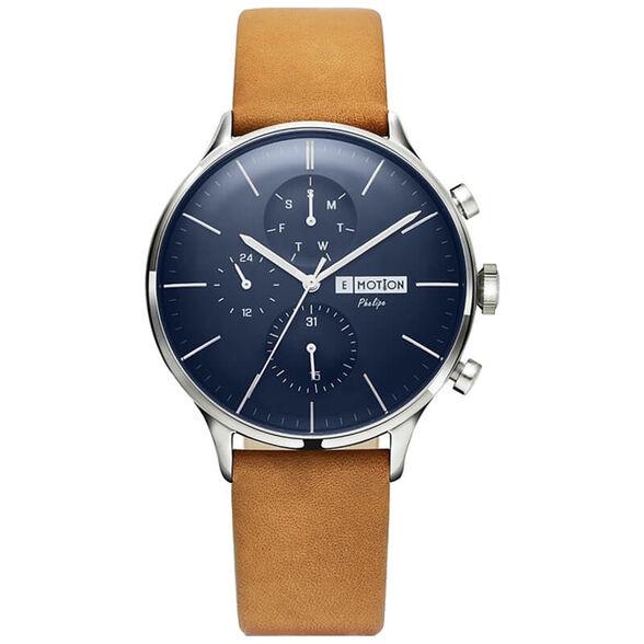 שעון יד אופנתי לגבר עם רצועת עור מבית EMOTION דגם ET-PHMMSSBLC | צבע לבחירה_רצועה חומה לוח כחול, , large image number null