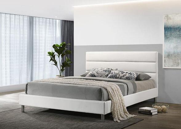 מיטת נוער רחבה ומעוצבת 120x190 בריפוד דמוי עור לבן מבית HOME DECOR דגם דניס 120 , , large image number null
