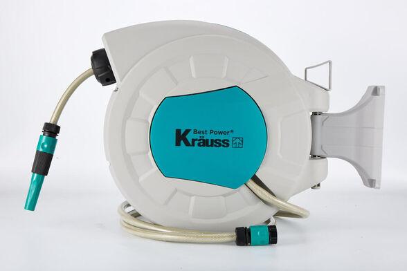 גלגלת סופר איכותית הכוללת מערכת החזרה אוטומטית עם צינור מים איכותי 15 מ' + 2 מ' תוצרת KRAUSS, , large image number null