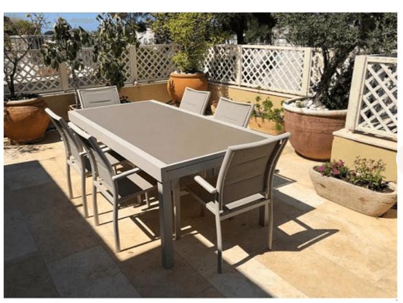 שולחן אוכל נפתח + 6 כסאות עשוי אלומיניום עם זכוכית מחוסמת דגם נאפולי מבית H.KLEIN | צבע לבחירה, , large image number null