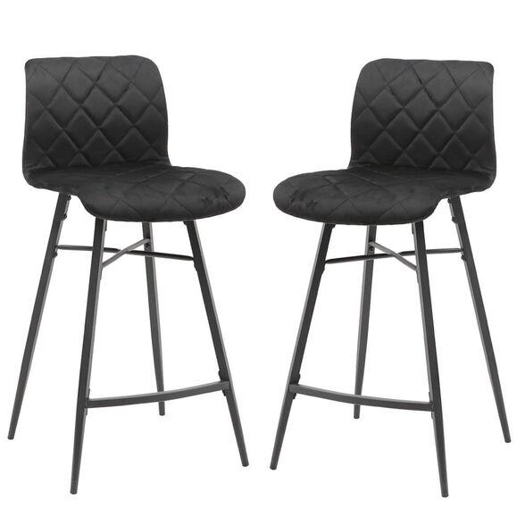 זוג כסאות בר בריפוד בד קטיפתי עם רגלי מתכת HOME DECOR דגם מנהטן – משלוח חינם! , , large image number null