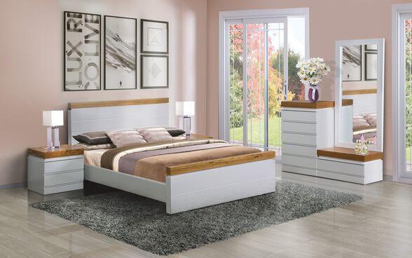 """חדר שינה זוגי דגם LEVANTIN הכולל מיטה זוגית מתאימה למזרן 140X190 ס""""מ + זוג שידות וקומודה עם מראה מבית  LEONARDO, , large image number null"""