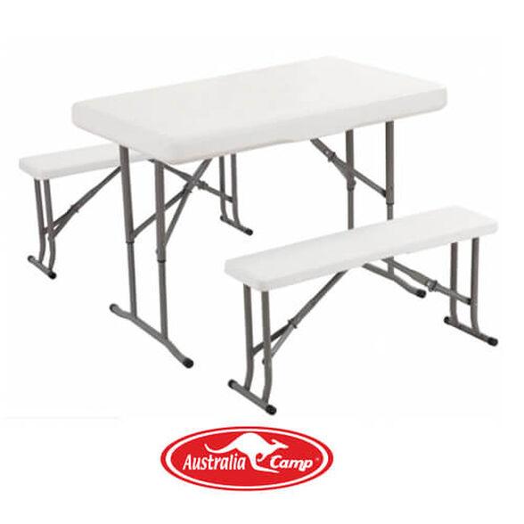סט מהודר שולחן +שני ספסלים מתקפל לחצר לפיקניק ולבית מבית  Australia Camp מאסיבי וחזק במיוחד, , large image number null