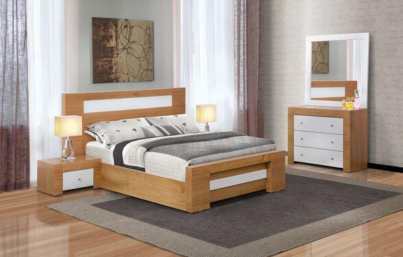 """חדר שינה זוגי דגם BRAON הכולל מיטה זוגית מתאימה למזרן 140X190 ס""""מ + זוג שידות וקומודה עם מראה מבית LEONARDO, , large image number null"""