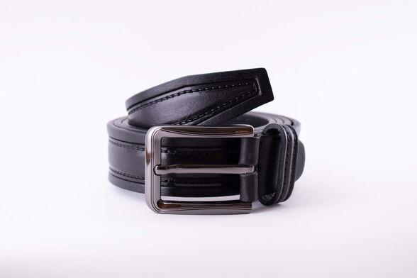 חגורת עור איכותית תוצרת איטליה בצבע שחור | הטבעת תפר, , large image number null