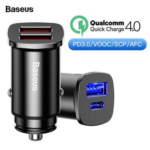 מטען רכב BASEUS TYPE C PD + QC4.0 - תומך טעינה מהירה למכשירי סמסונג, HUAWEI, אייפונים ועוד., , large image number null