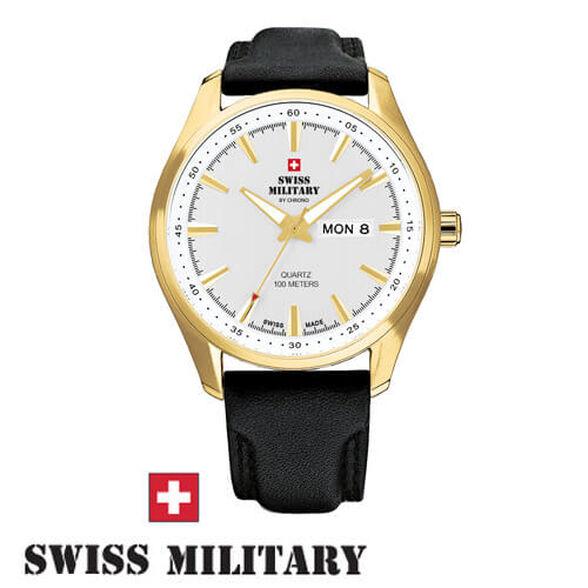 שעון יד שוויצרי לגבר מבית SWISS MILITARY עשוי פלדת אל חלד ועמיד במים עד 100M זכוכית ספיר, , large image number null