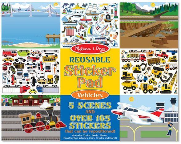 חוברת מדבקות 5 דפי יצירה ו 165 מדבקות רב פעמיות - כלי רכב, , large image number null