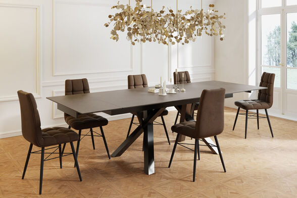 פינת אוכל מפוארת עם שולחן קרמיקה 1.8 מ' נפתח ל- 2.6 מ' ו-6 כסאות HOME DECOR דגם ברצלונה-קרול , , large image number null