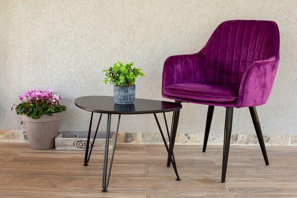 כיסא מפואר לפינת אוכל מרופד קטיפה דגם לונדון מבית PandaStyle_סגול, , large image number null