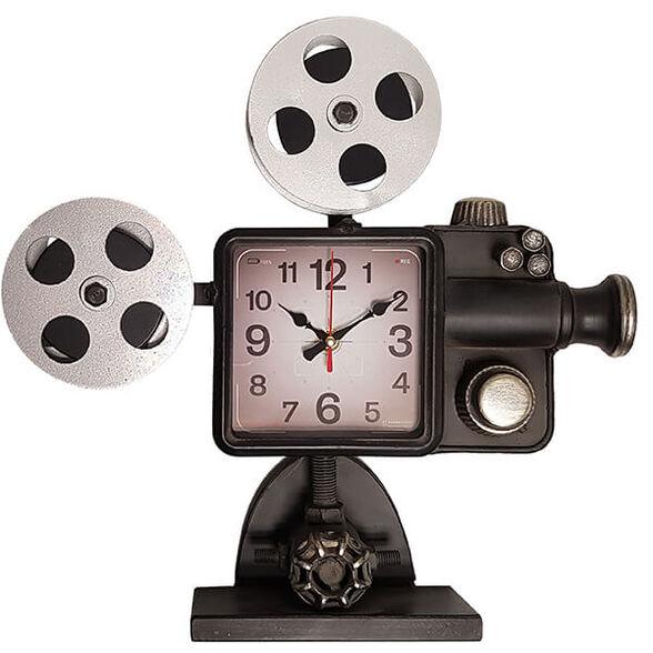 שעון שולחני בעיצוב רטרו בצורת מקרן קולנוע עתיק, , large image number null