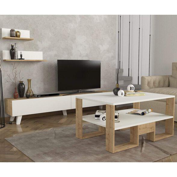 סט שולחן + מזנון טלוויזיה 1.8 מטר + מדפי תליה דגם קרולינה מבית GEVA DESIGN, , large image number null