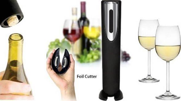 פותחן חשמלי מעוצב לבקבוקי יין | הטבה לרוכשים - כיסוי למצות בצבע לבחירה במחיר מוזל!, , large image number null