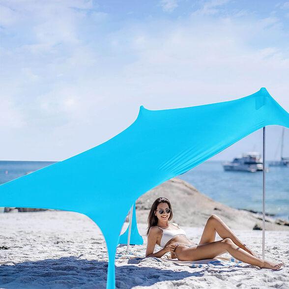 צילייה זוגית גדולה דגם  Ariel מבד נמתח מסנן קרינה ודוחה חול   גודל 2.1 * 1.5 מטר   בצבע לבן, , large image number null