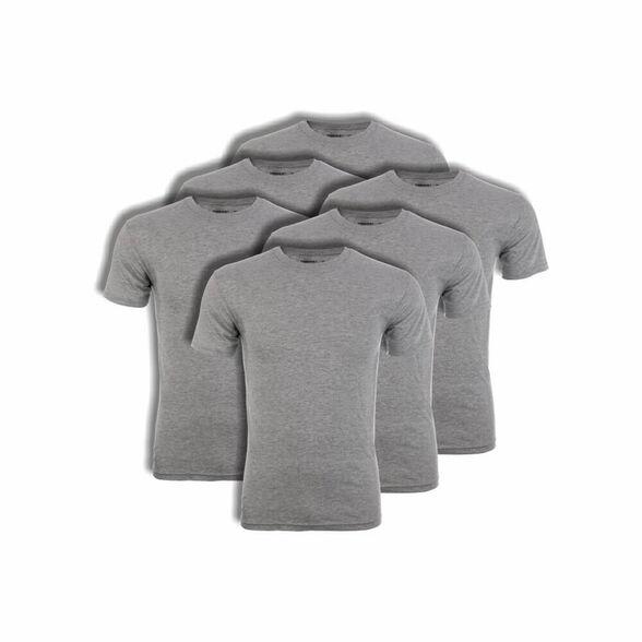 מארז 6 חולצות טישירט יוניסקס עם צווארון עגול בצבע אפור מבית HANES, , large image number null