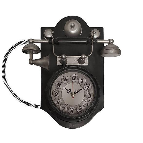 שעון קיר בעיצוב רטרו בצורת טלפון עתיק, , large image number null