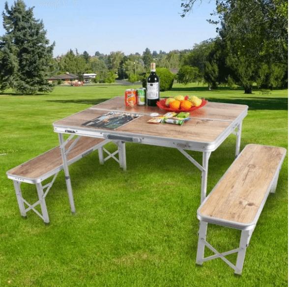שולחן פיקניק מתקפל בצורה קומפקטית   כולל שני ספסלי ישיבה   מבית STAR SHOP, , large image number null