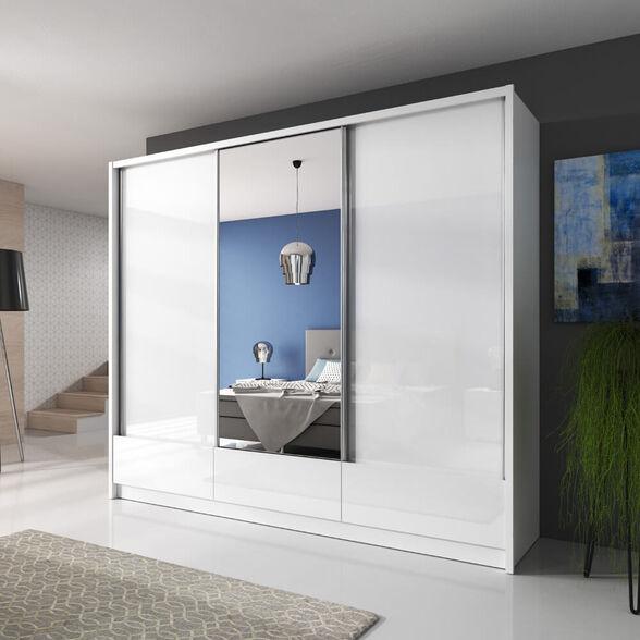 """ארון הזזה 250 ס""""מ 3 דלתות עם דלת מראה ומגירות תוצרת אירופה HOME DECOR דגם דורון , , large image number null"""