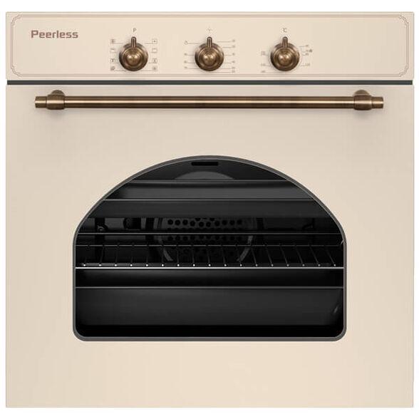 תנור בנוי מנירוסטה בעיצוב רטרו 60 ליטר בעל 7 תוכניות בישול ואפייה ו - 4 מפלסים עם מסילות טלסקופיות מבית PEERLESS דגם PR-609 R-BEJ- גימור בז' , , large image number null