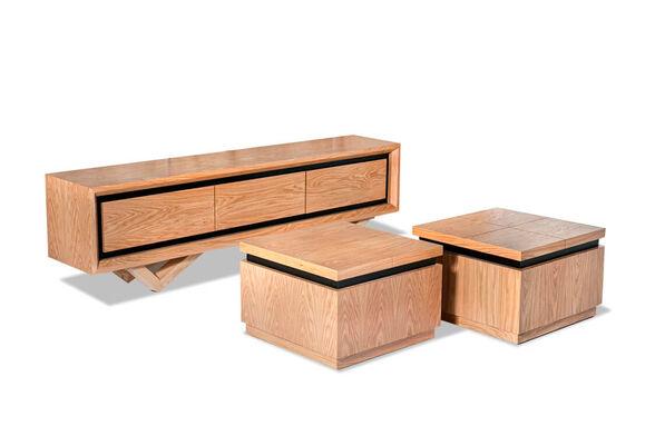 מערכת שולחן סלון ומזנון דגם איילנד מדהימה מעוצבת עד הפרטים הקטנים ביותר בגימור פורניר אלון מבית VITORIO DIVANI , , large image number null