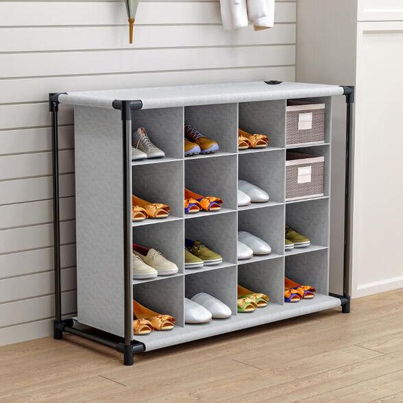 מתקן לנעליים לאחסון מירבי כולל 16 תאים   הרכבה עצמית קלה ופשוטה, , large image number null