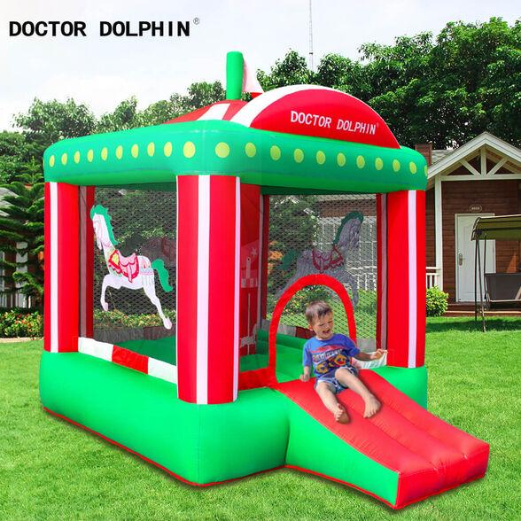 מתקן מתנפח לילדים לחצר   צבעים ירוק אדום לבן, , large image number null
