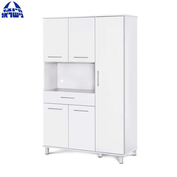 ארון מיקרוגל 5 דלתות ומגירה נשלפת בעיצוב מודרני צבע לבן דגם עינב מבית רהיטי יראון תוצרת ישראל, , large image number null