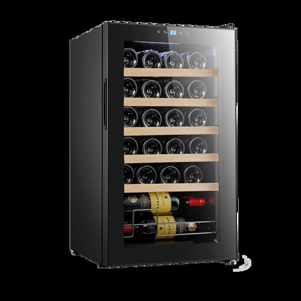 """מקרר יין 24 בקבוקים  עם מדפי עץ  לאחסון יינות הפועל ע""""י מדחס שקט ואיכותי מבית Landers דגם JC70W , , large image number null"""