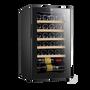 """מקרר יין 24 בקבוקים  עם מדפי עץ  לאחסון יינות הפועל ע""""י מדחס שקט ואיכותי מבית Landers דגם JC70W"""