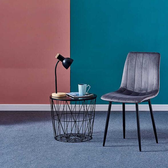 6 כיסאות אופנתיים מעוצבים פרקטיים ונוחים שילוב של עץ ומתכת עם בד קטיפה בדוגמת פסים -LEONARDO_אפור כהה, , large image number null