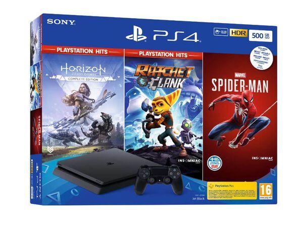 קונסולת PS4 SLIM בנפח עצום 500 גיגה בעיצוב הדק החדש במארז מיוחד הכולל 3 משחקים מלהיטי פלייסטיישן , , large image number null