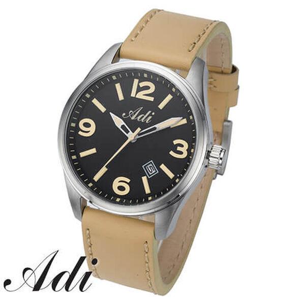 שעון יוקרתי לגבר מבית ADI עשוי מפלדת אל חלד, עמיד למים 50m, עם תאריכון, תאורה ומחוגים זוהרים, , large image number null