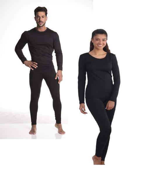 סט הכולל 2 חולצות ומכנס תרמיים LEVEL 2 מבית OUTLAND עשויים מיקרו פליז דק,רך ומחמם | מתייבש בקלות, לא קמיט, דוחה כתמים וקל לשטיפה | צבע שחור | דגם נשים / גברים ומידות לבחירה, , large image number null