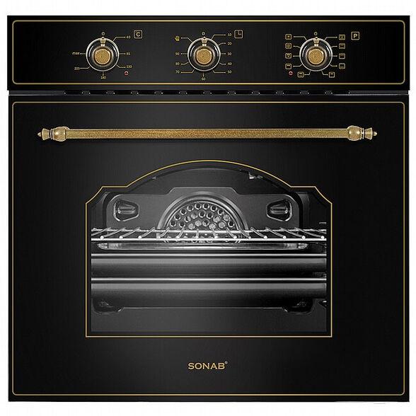 תנור בנוי בעיצוב כפרי 61 ליטר בעל 7 תוכניות בישול ואפייה מבית SONAB דגם SN-609- גימור בז'/שחור _שחור, , large image number null