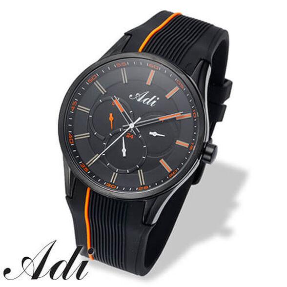 שעון יד יוקרתי לגבר מבית ADI עשוי מפלדת אל חלד מושחרת, רצועת סיליקון ועמידות למים עד 100m!, , large image number null