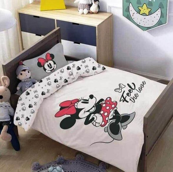 מצעים למיטת תינוק ומעבר 100% כותנה דגם מיני אהבה, , large image number null