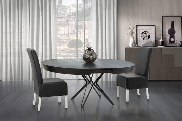 שולחן פינת אוכל עגול יוקרתי בגימור דמוי שיש אפור ורגלי ברזל שחור תוצרת LEONARDO דגם טופז, , large image number null