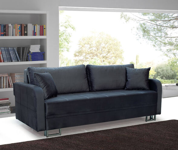 ספה תלת מושבית נפתחת למיטה גדולה כוללת ארגז מצעים ומרופדת בבד קטיפתי ומפנק דגם טולדו + 2 כריות נוי מתנה מבית OR DESIGN_אפור, , large image number null