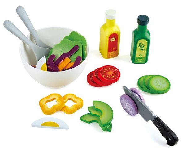 ערכה להכנת סלט בריאות עם קערה, רטבים וכלי אוכל 39 חלקים למשחק דמיון באוכל, , large image number null