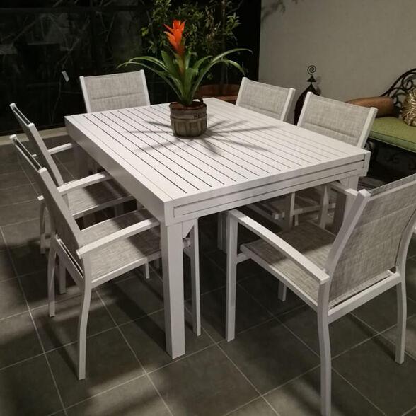 סט פינת אוכל לגינה + 4 כיסאות דגם 4901 מבית H-KLEIN_לבן-ללא כסא נוסף, , large image number null