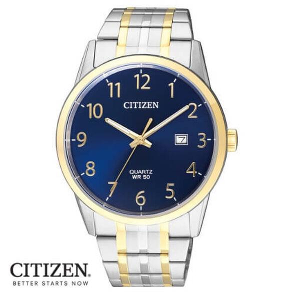 שעון פלדת אל חלד לגבר מבית CITIZEN עם תאריכון ותצוגה מלאה עמיד במים עד 50 מטר -שנתיים אחריות, , large image number null