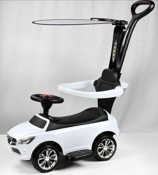 בימבה מכונית דמוי מרצדס כולל מעקה, גגון וידית |  מנגינות בהגה | 2 צבעים לבחירה_לבן, , large image number null