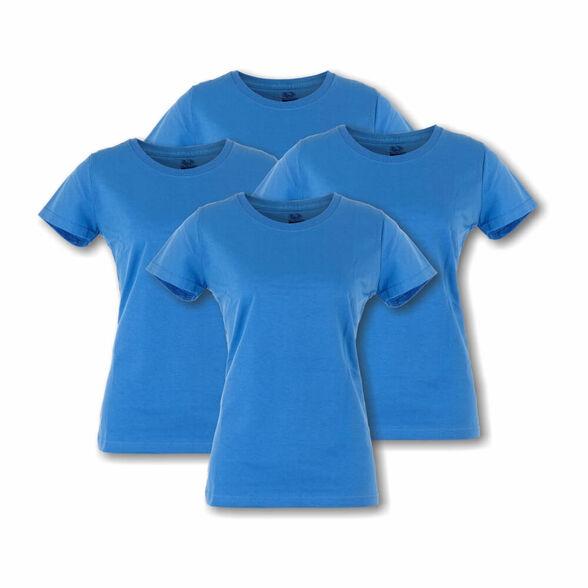 מארז ארבע חולצות טישרט לאשה עם צווארון עגול בצבע תכלת מבית Fruit Of The Loom, , large image number null