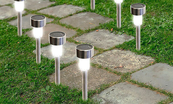 מושלם לגינה! 5 פנסי לד סולארי מרשים מנירוסטה, ללא צורך בחשמל, נדלק אוטומטית בלילה, , large image number null