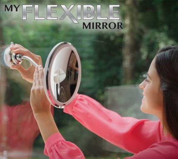 FLEXIBLE MIRROR פלקסיבל מירור - מראה גמישה עם תאורה מתכוננת מגדילה פי 10, , large image number null