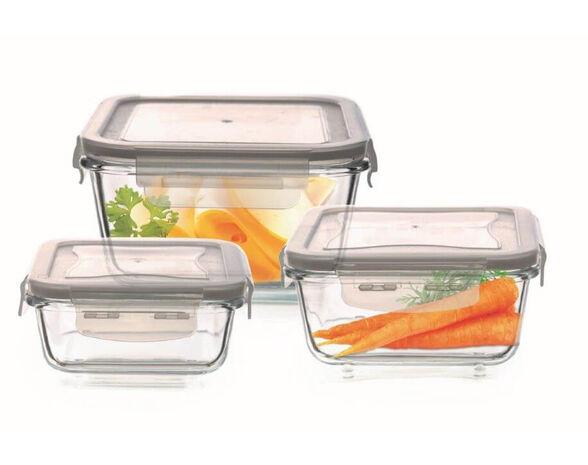 מארז 3 קופסאות אחסון העשויות זכוכית עם מכסה פלסטיק, , large image number null