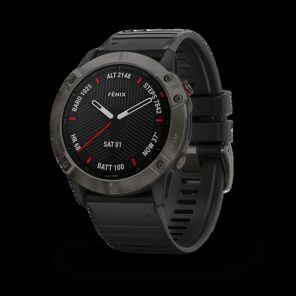 שעון דופק מולטי ספורט מבית גרמין! fenix 6X,Sapphire,Carbon Gray DLC w/Black Band  | דגמי 2019 | יבואן רשמי, , large image number null